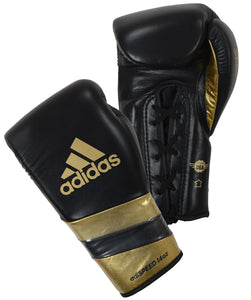 Adidas-AdiSpeed black/gold Lace Boxing Gloves