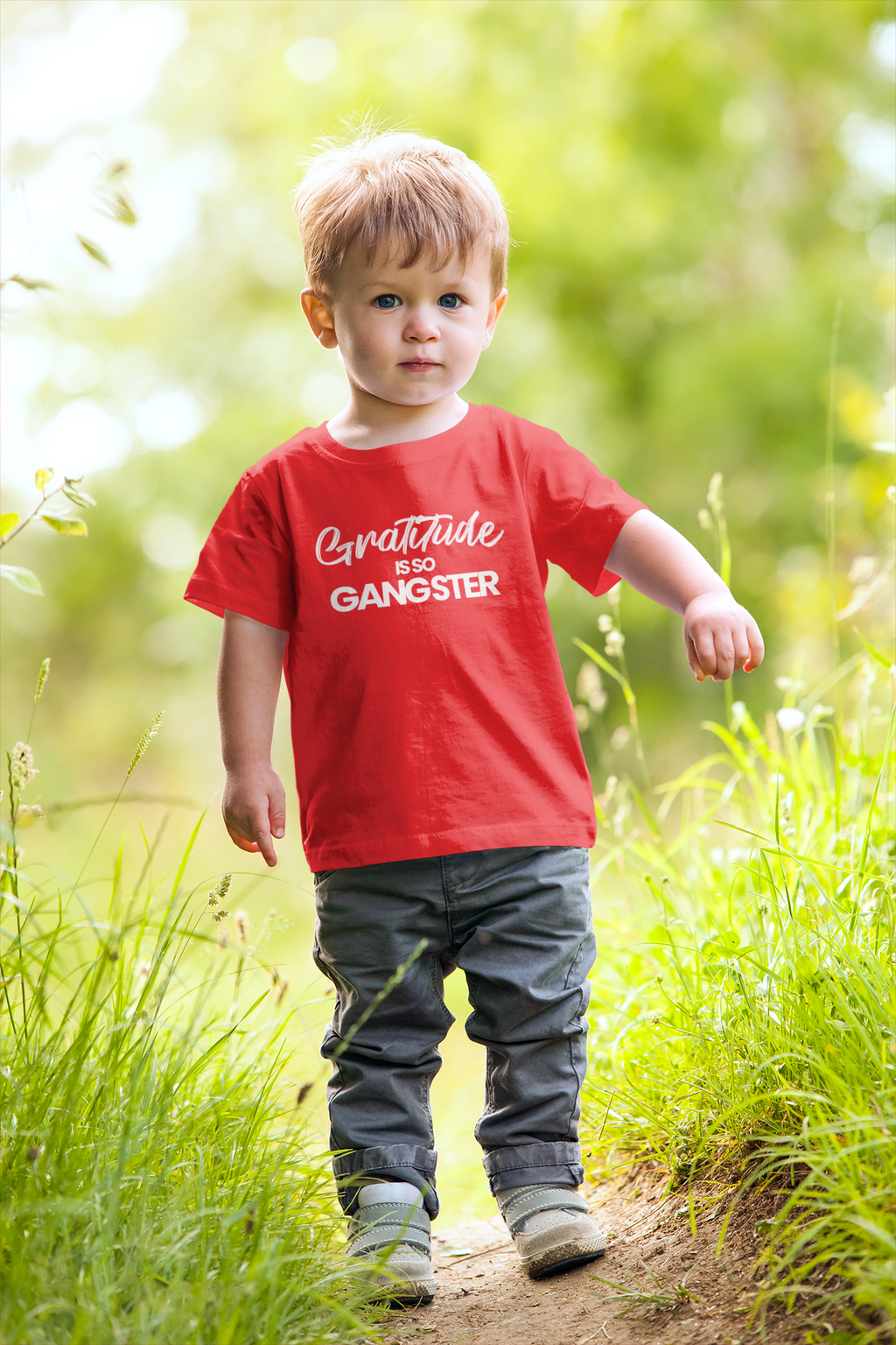 Gratitude Is So Gangster • Red + White Kid Tee