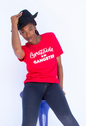 Gratitude Is So Gangster • Red + White Tee