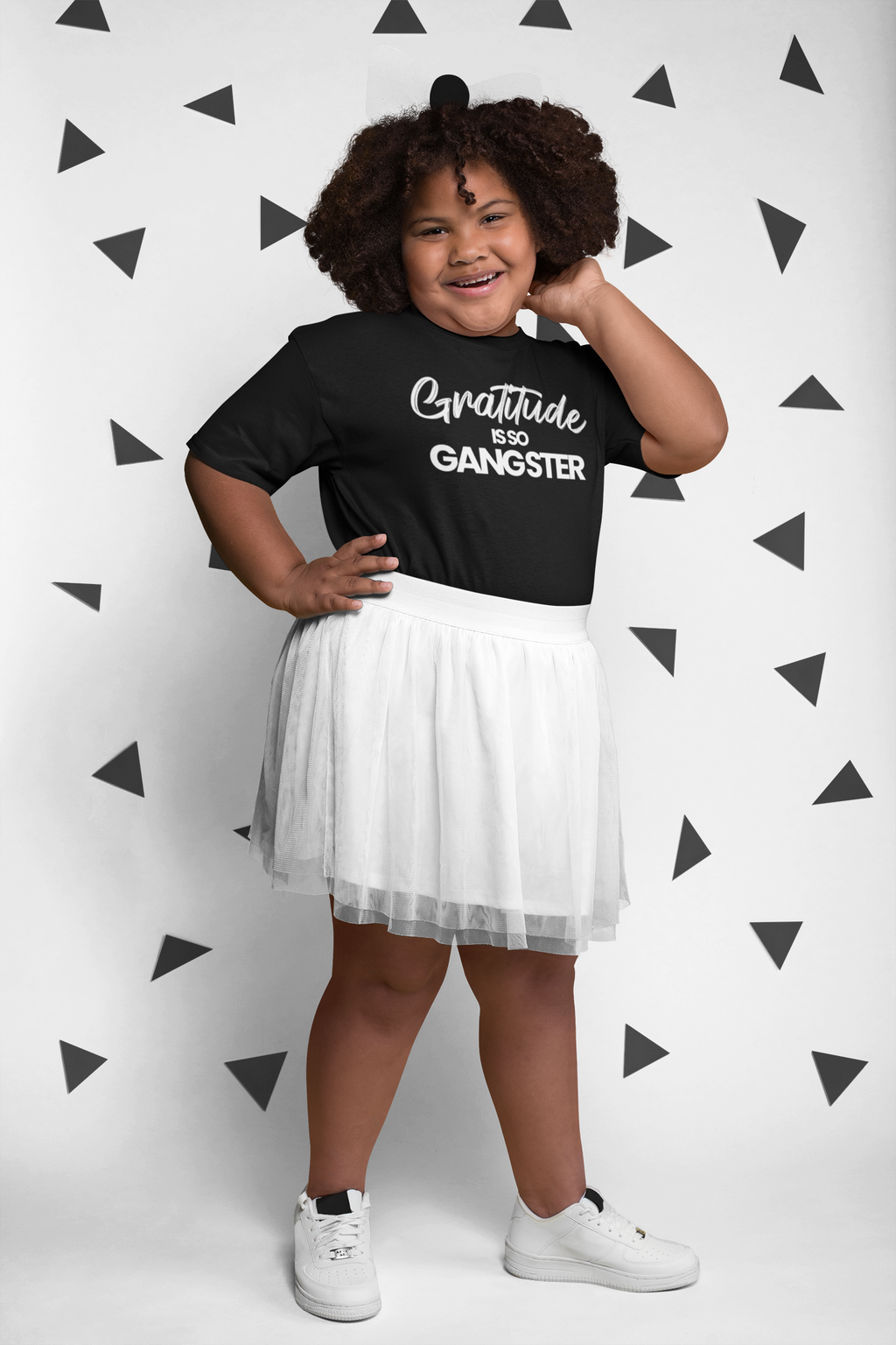 Gratitude Is So Gangster • Black + White Kid Tee