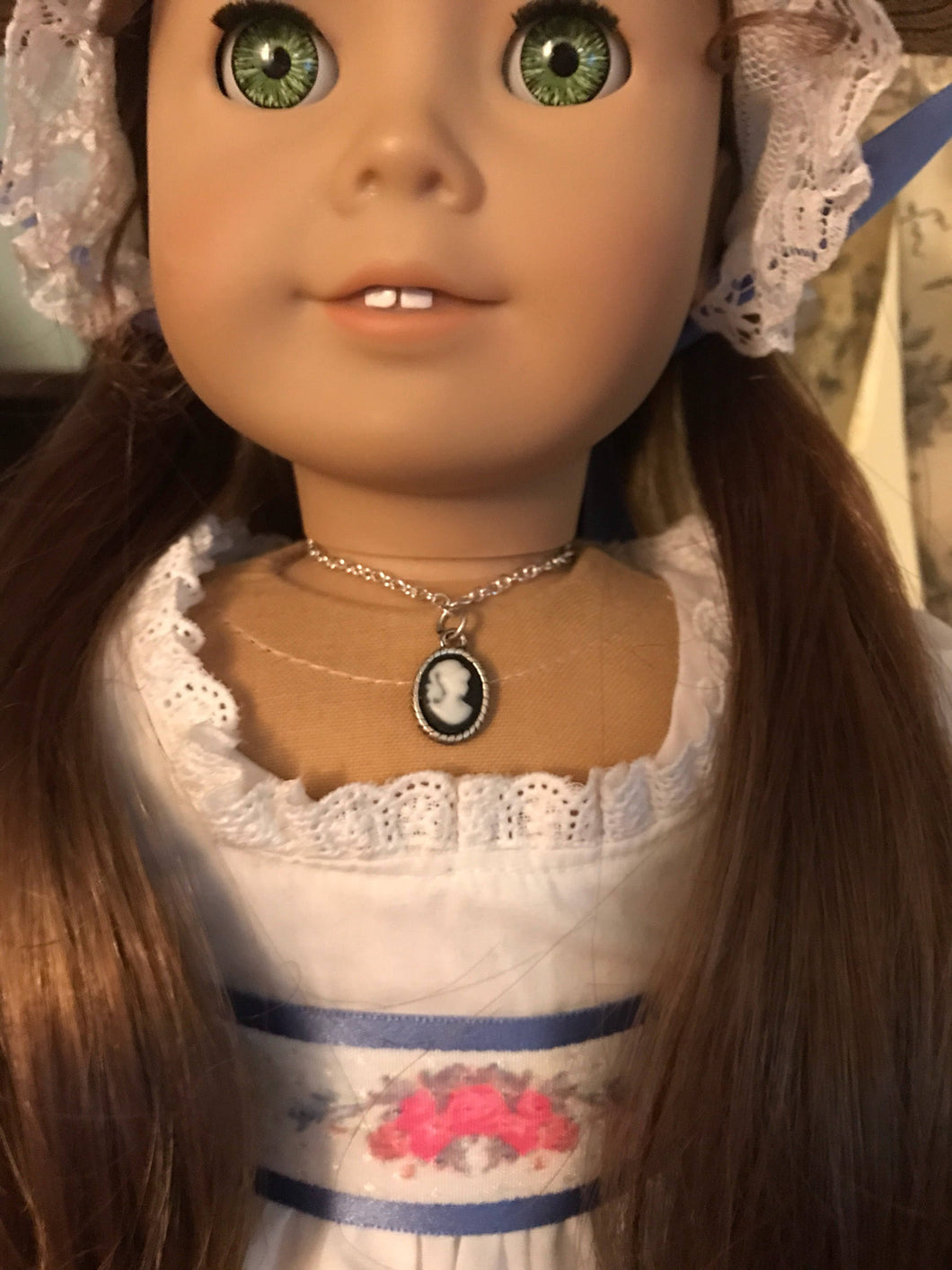 Silver Cameo Necklace for 18inch American Girl Doll Felicity