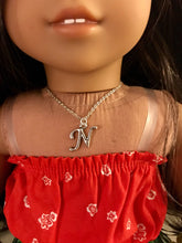 Load image into Gallery viewer, Silver Initial Necklace for American Girl Dolls