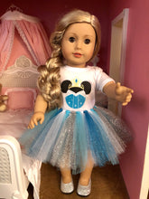 Load image into Gallery viewer, Elsa Mouse Ears Tshirt & Tutu for 18 Inch American Girl Dolls