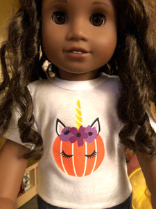 Halloween Pumpkin Unicorn Tshirt for 18 Inch American Girl Dolls