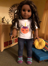 Load image into Gallery viewer, Halloween Pumpkin Unicorn Tshirt for 18 Inch American Girl Dolls