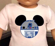 Load image into Gallery viewer, Mouse Ears Star Wars R2D2 Doll Tshirt for American Girl Doll Logan