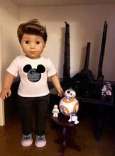 Load image into Gallery viewer, Mouse Ears Star Wars Death Star Doll Tshirt for American Girl Doll Logan