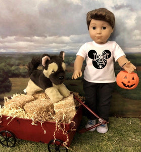Halloween Mickey Spider Web Tshirt for 18 Inch American Girl Doll Logan