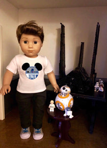 Mouse Ears Star Wars R2D2 Doll Tshirt for American Girl Doll Logan