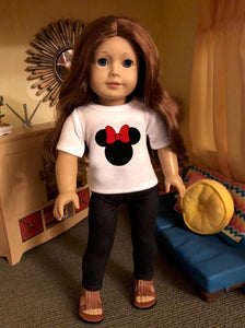 Mouse Ears Red Bow Doll Tshirt for American Girl Dolls