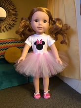 Load image into Gallery viewer, Minnie Mouse Pink Polka Dot Ears Tshirt & Tutu for Wellie Wishers