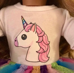 Girl & Doll Matching Unicorn Tshirts