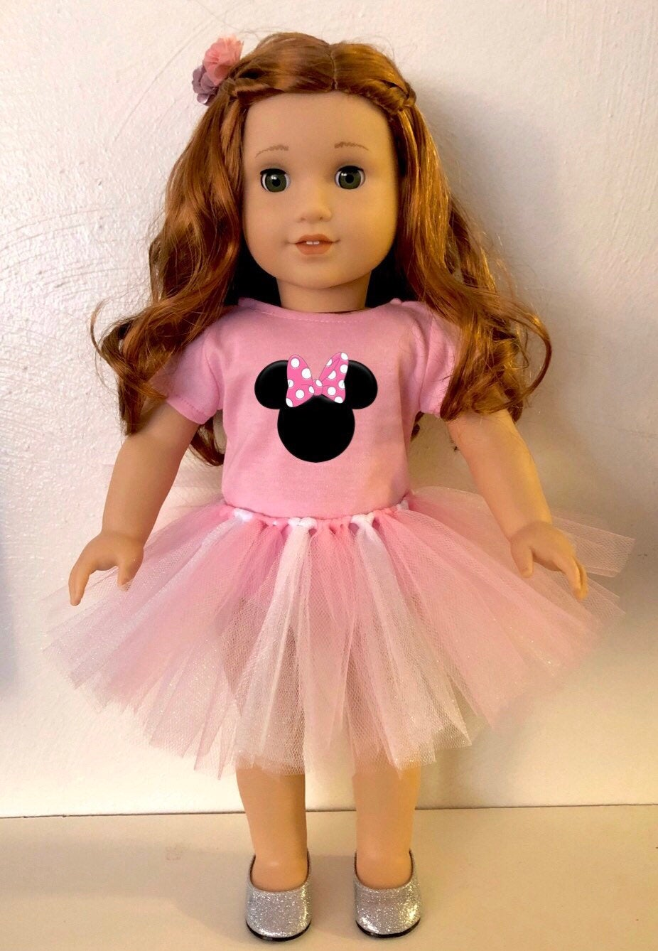 Pink Minnie Mouse Ears Tshirt & Tutu for American Girl Dolls