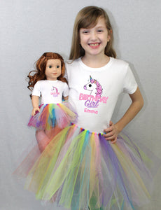 Custom Name Birthday Girl Rainbow Unicorn Matching Girl & Doll Tshirt and Tutu Sets