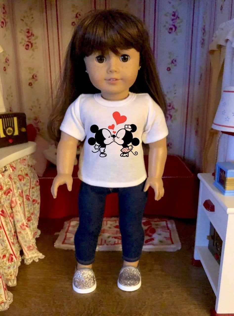 Kissing Mouse Ears Doll Tshirt for American Girl Dolls