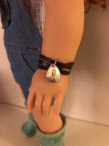 Leather Wrap Gold Initial Bracelet for American Girl Dolls