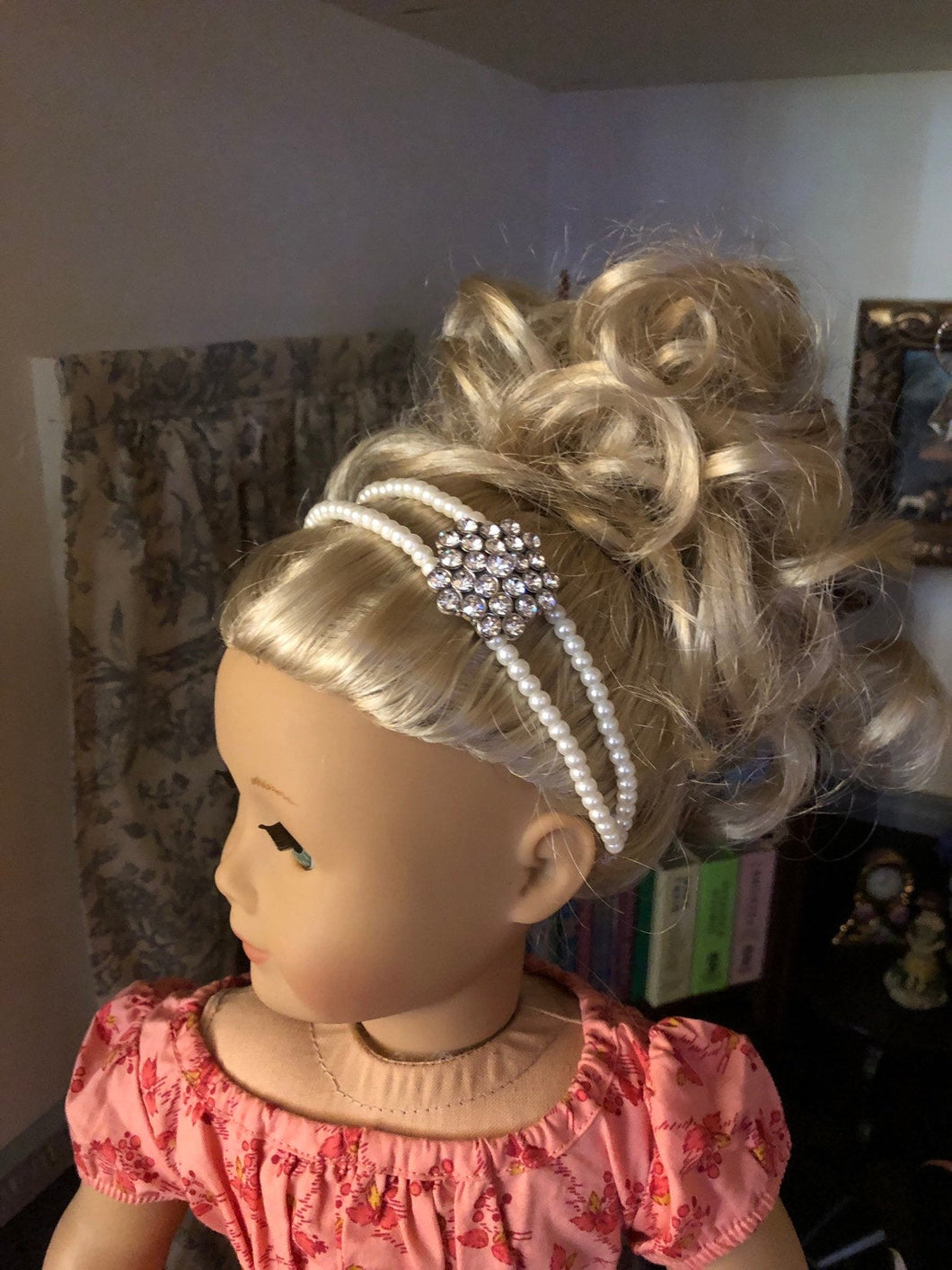 Pearl & Diamond Embellished Headband for American Girl 18 inch Dolls