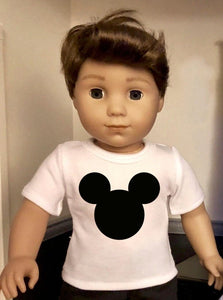 Mouse Ears Doll Tshirt for 18 inch American Girl Doll Logan