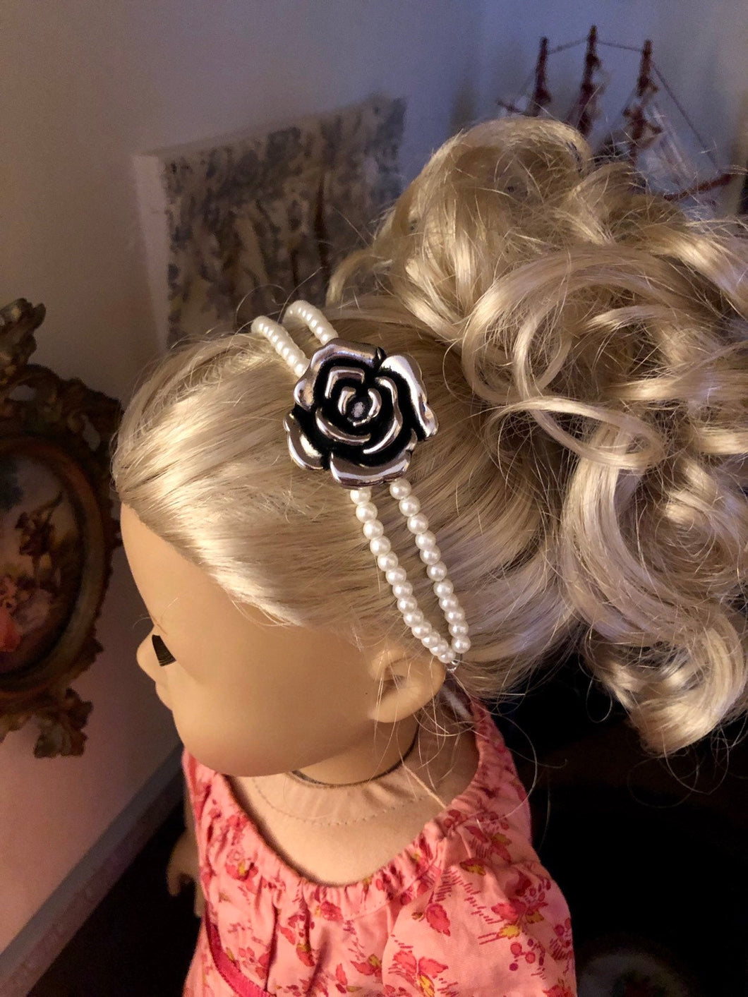 Pearl & Rose Pendant Headband for American Girl 18 inch Dolls