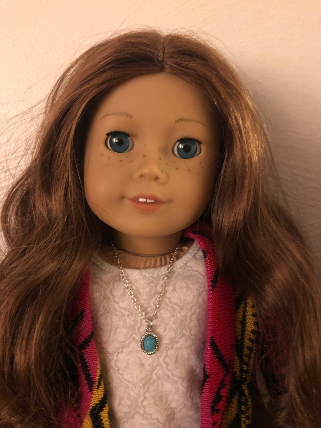 Turquoise Charm Necklace for American Girl Dolls