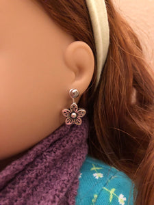 Silver Flower Earring Dangles for 18 inch American Girl Doll Lea Clark Girl of the Year