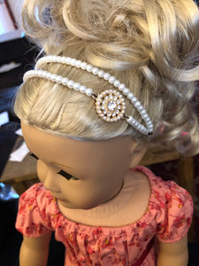 Pearl Double Strand Diamond Embellished Headband for American Girl 18 inch Dolls