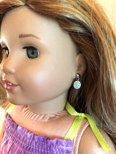 Load image into Gallery viewer, Tropical Green Flower Earring Dangles for 18 inch American Girl Doll Lea Clark Girl of the Year