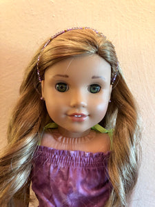 Purple Beaded Headband for American Girl 18 inch Dolls
