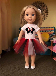 Mouse Ears Castle Tshirt & Tutu for Wellie Wisher Dolls