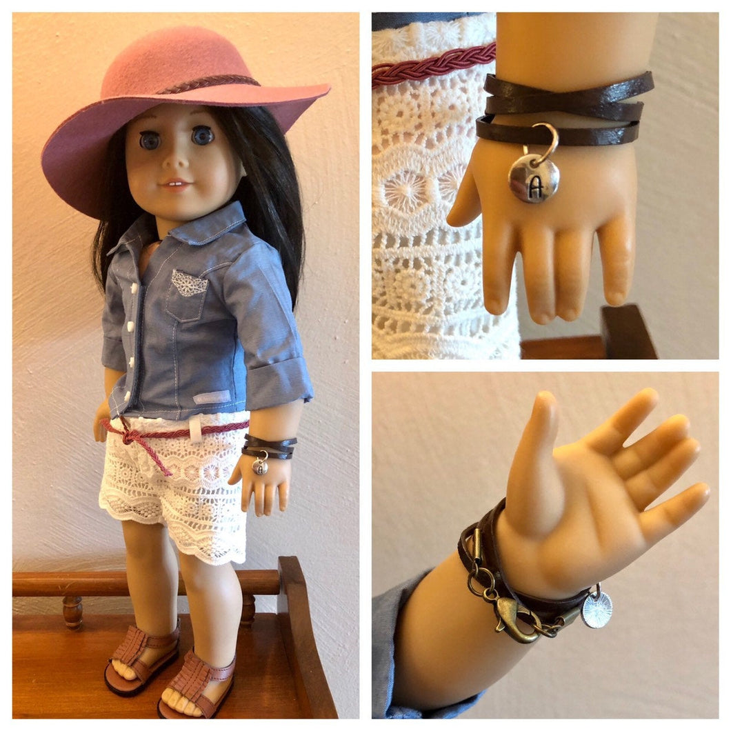 Leather Wrap Initial Bracelet for American Girl Dolls