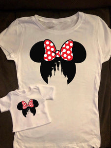 Girl & Doll Matching Minnie Castle Ears Tshirts