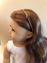 Load image into Gallery viewer, Emerald & Gold Beaded Circlet Headband for American Girl 18 inch Doll Jewelry