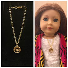 Load image into Gallery viewer, Gold Tree of Life Charm Necklace for 18 inch American Girl Dolls