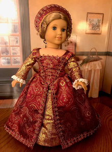 Tudor Era Elizabethan Gown for 18 Inch American Girl Dolls