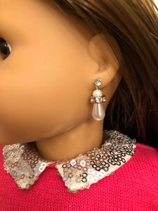 Pearl & Diamond Drop Earring Dangles for 18 inch American Girl Dolls