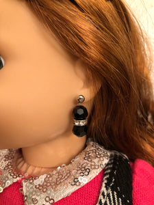 Black Bead and Diamond Earring Dangles for 18 inch American Girl Dolls