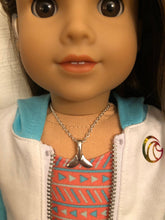 Load image into Gallery viewer, Silver Whale Tail Necklace for 18 inch American Girl Doll of the year 2020 Joss Kendrick