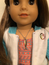 Load image into Gallery viewer, Silver Surf Board Whale Tail Necklace for 18 inch American Girl Doll of the year 2020 Joss Kendrick