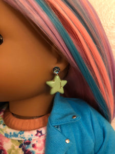 Green Star Earring Dangles for 18 inch American Girl Dolls