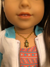 Load image into Gallery viewer, Gold Sea Turtle Necklace for 18 inch American Girl Doll of the year 2020 Joss Kendrick
