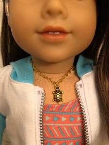 Gold Sea Turtle Necklace for 18 inch American Girl Doll of the year 2020 Joss Kendrick