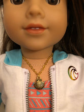Load image into Gallery viewer, Gold Sea Shell Charm Necklace for 18 inch American Girl of the year Joss Kendrick