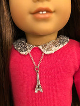 Load image into Gallery viewer, Eiffel Tower Silver Charm Necklace for American Girl Doll Grace