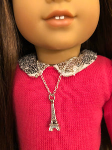 Eiffel Tower Silver Charm Necklace for American Girl Doll Grace