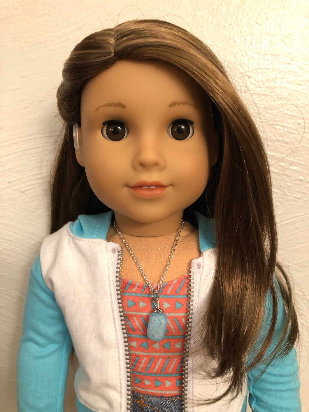 Blue Sea Glass Necklace for 18 inch American Girl Doll of the year 2020 Joss Kendrick