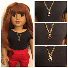 Load image into Gallery viewer, Gold Star Rhinestone Charm Necklace for 18 inch American Girl Dolls Multiple Colors Available