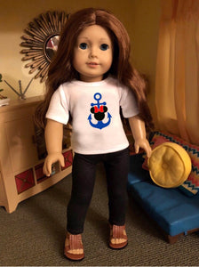 Mouse Ears Blue Anchor Cruise Tshirt for American Girl Dolls & Wellie Wishers