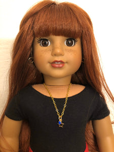Gold Star Rhinestone Charm Necklace for 18 inch American Girl Dolls Multiple Colors Available