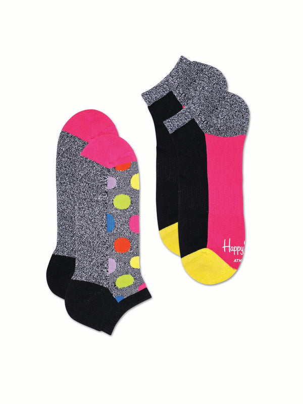 Happy Socks 2-Pack Athletic Big Dot Low Sock