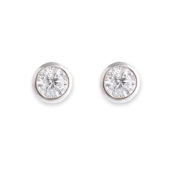 BIANC Silver CZ Bezel Stud Earrings